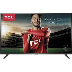 """Smart Tv Led 50"""" TCL 4k Hdr 50p65us - R$1619"""