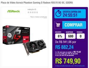 Placa de Video RX570 8G OC Asrock Phantom Gaming