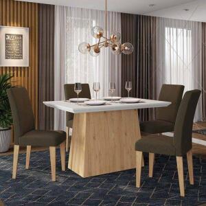 Conjunto Sala De Jantar 4 Cadeiras Italia Cinamomo R$ 450