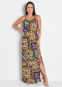 Vestido Longo Estampado c/ Sobreposição R$20