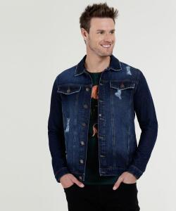 Jaqueta Masculina Jeans Puídos Bolsos Marisa (apenas P e PP)