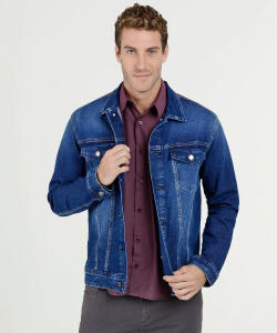 Jaqueta Masculina Jeans Bolsos MR (do P ao GG)