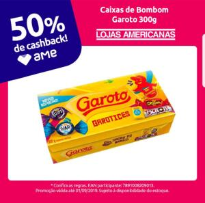[Retirada] Cx. Bonbons Garoto 50% cashback Ame   R$9