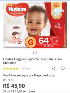 Fralda huggies Supremes care