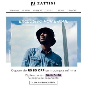 R$80,00 off sem compra mínima ZATTINI