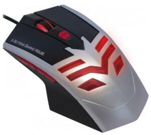 Mouse Gamer K-Mex MO-X235 - USB - 1600dpi - Preto e Prata - Botão de ajuste de dpi - 6 Botões Programáveis - LED interno Vermelho