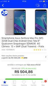 [AME] Zenfone Max Pro M1 prata 32gb