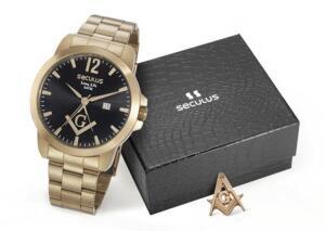 Relógio Seculus Masculino 28973gpskda1k1 + Boton Maçonaria - R$233