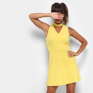 Vestido Drezzup Evasê Curto Recorte Amarração - Amarelo R$20