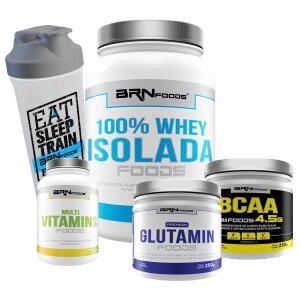 Kit Whey 100% Isolada 900g+Glutamin 250g+BCAA 250g+Multi Vitamins 30 caps + Coqueteleira | R$120