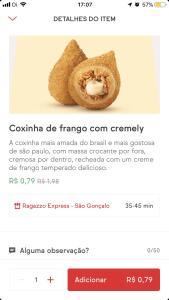 Coxinha de frango Ragazzo Express por R$0,79 no iFood