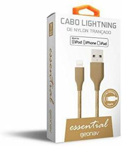 (frete grátis prime) Cabo Lightning em Nylon Trançado para Iphones, Ipads e Ipods, Geonav, Esligo, Dourado, 1M