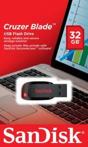 Pen Drive 32GB - Sandisk - Cruzer Blade - Ship and Sold by Amazon (original) e Frete Prime