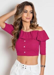 Cropped Pink com Decote Ciganinha e Babado R$13