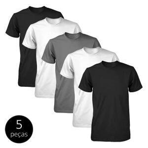 Kit 5 Camisetas Part.B Básicas Fit Masculina - Branco e Preto | R$85