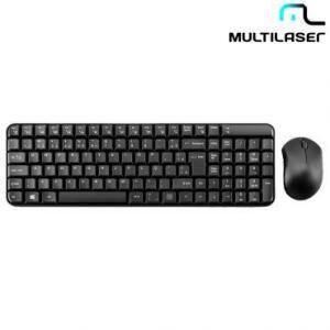 Teclado e Mouse Sem Fio 2.4 Ghz Multimidia Preto USB - Multilaser TC183 - R$58