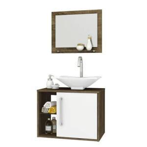Gabinete P/ Banheiro Bechara Madeira Rústica/branco - R$235
