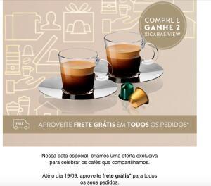 Nas compras a partir de 250 capsulas Nespresso ganhe xícaras View e frete gratis