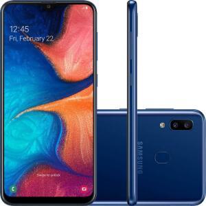 """(APP + cartão AMERICANAS) Galaxy A20 32GB Dual Chip Android 9.0 Tela 6.4"""" Octa-Core 4G Câmera Dupla 13MP + 5MP - Azul - R$554"""