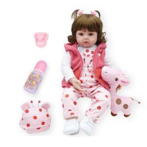 [Envio Internacional] Boneca Bebê Reborn Menina Realista de Silicone 48cm e Girafinha | R$241