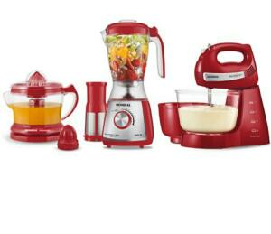 Kit Mondial Gourmet Red Premium Inox: Batedeira + Liquidificador + Espremedor de Frutas - Vermelho/Inox
