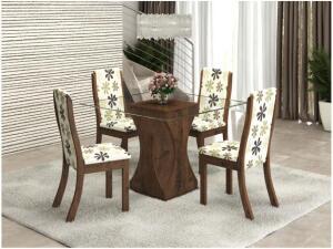 Mesa de Jantar 4 Cadeiras Quadrada Tampo de Vidro R$ 285