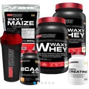 Kit 2x Wax Whey 900g + BCAA 4,5 100g + Creatine 100g + Waxy Maize 800g + Coquet.