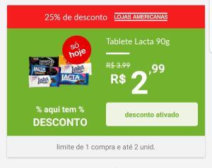 [Loja Física Americanas] Tablete Lacta 90g - R$3