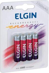Pilha Recarregável Ni-MH AAA-1000mAh blister com 4 pilhas, Elgin, Baterias - R$17,90