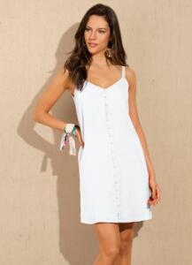 Vestido Curto Crepe Branco - Doce Trama R$46