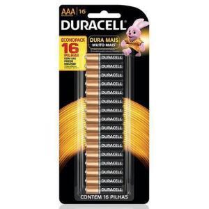 Bateria Pilha Alcalina Palito AAA Com 16 Unidades Duracell - R$17