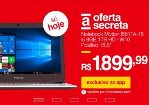 Notebook Motion I581TA-15 i5 8GB Positivo [APP] - R$1.900