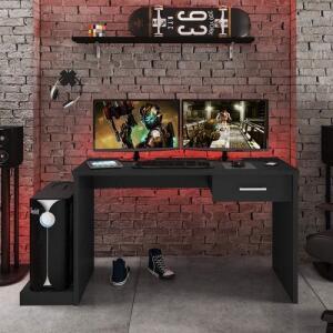 Mesa Gamer 1 Gaveta DRX 9000 Siena Móveis Preto Black   R$176