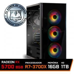 Pc Gamer Ryzen 7 3700X / RX 5700 8GB DUAL (CUSTOM) / 16GB DDR4/ HD 1TB / 600W / RZ3 - R$5310