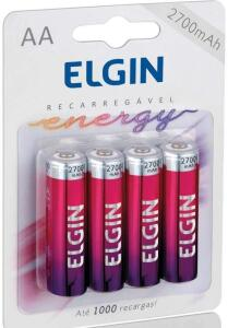 Pilha Recarregável Ni-MH AA-2700mAh blister com 4 pilhas, Elgin, Baterias