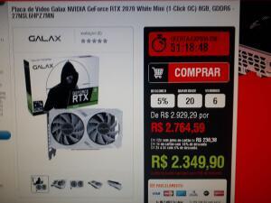 Placa de Vídeo Galax NVIDIA GeForce RTX 2070 White Mini (1-Click OC) 8GB, GDDR6 - 27NSL6HPZ7MN