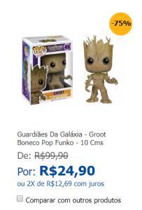 Guardiães Da Galáxia - Groot Boneco Pop Funko - 10 Cms