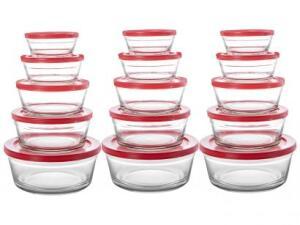 Jogo de Potes de Vidro Casambiente com Tampa - Redondo 15 Peças R$69