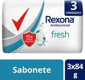 3 Sabonetes em Barra REXONA ANTIBACTERIAL FRESH Multipack 3UN. de 84G, Rexona, Branco