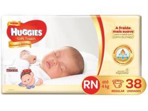 Fraldas RN Huggies Soft Touch com 38 unid.