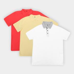 Kit c/ 3 Camisas Polos John Taylor Masculina - Branco R$70