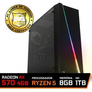 Pc Gamer T-Commander Lvl-5 Amd Ryzen 5 2600 / RADEON RX 570 4GB / DDR4 8GB / HD 1TB / 500W R$2399