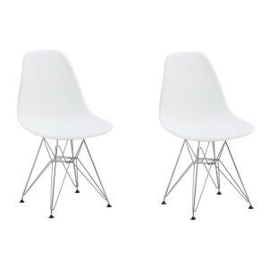 Conjunto com 2 Cadeiras Eames Eiffel Base Metal Branco   R$270