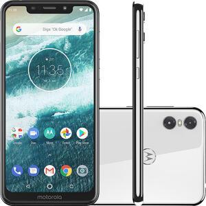 "Smartphone Motorola One 64GB Dual Chip Android Oreo 8.1 Tela 5.9"" 2.0 GHz Octa-Core Qualcomm 4G Câmera 13 + 2MP (Dual Traseira) - Branco"