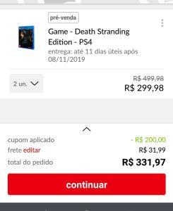 [1x qq cartão] 2 unidades do game Death stranding