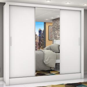 Guarda Roupa Casal 3 Portas com Espelho Porto Plus Siena Móveis Branco 46% OFF