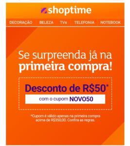 R$ 50,00 OFF na primeira compra no Shoptime