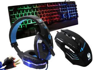Kit Gamer Haiz Teclado Mouse e Headset 5.1 Luz Led Hz18 | R$132