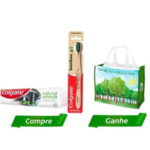 Kit Creme Dental Colgate + Escova Dental Bamboo + Sacola Ecológica R$28 Frete grátis