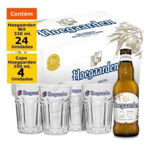 Kit Hoegaarden Wit caixa (24 Unidades) + Copo Hoegaarden 250ml (4 Unidades)